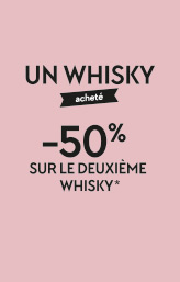 1 whisky acheté 50% sur le 2e